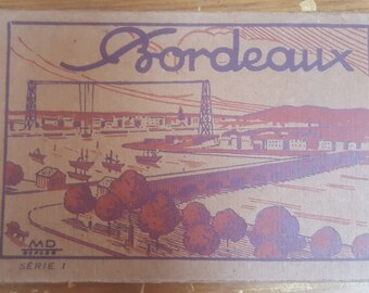 Complete Collection of 10 Original Antique Topographic Postcards of Bordeaux France