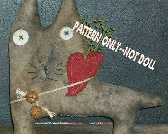Cat with heart epattern-NOT DoLL  Crows Roost Prims 248e  Primitive Claude epattern  immediate download