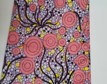 Coral & lilac African Fabric; Ankara Fabric; African Clothing; African Print; African Headwrap;Ankara Fabric in yards; African Fabric