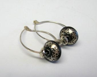 Handmade Paisley Bead Hoop Earrings