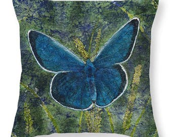 Mother's Day Gift Idea Watercolor Batik Blue Karner Butterfly on Grasses Decorative Pillow