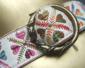 Mod 1970s Embroidered Cloth Vinyl Canine Buckle Belt