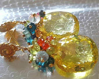 Yellow Quartz with Gemstone Cluster of Colorful Sapphires on Gold Vermeil Earwires