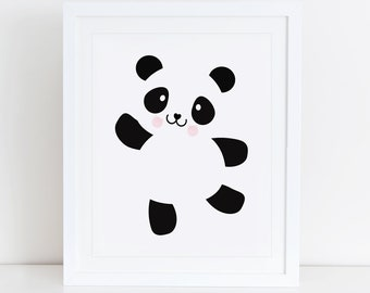 Panda Art Print, Panda Bear, Panda Printable, Scandinavian, Animals Nursery Wall Art, Instant Download, Digital Art, Scandinavian Nursery