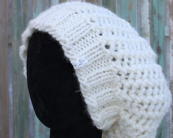 READY TO SHIP, Knitted wool hat, Slouchy hat, off-white or made to order in any colour