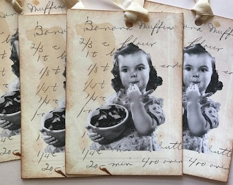 Banana Muffins Recipe Card Tags Vintage Image Retro Christmas Gift Tags