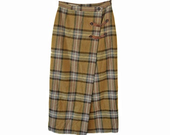 Vintage The Barn ® women long skirt brown yellow checked