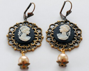 Pretty Cameo Pearl and Brass Filigree Earrings, Black Neo-Victorian Earrings, Romantic Jewelry, Cameo Earrings Pearl Earrings, Cameo Jewelry