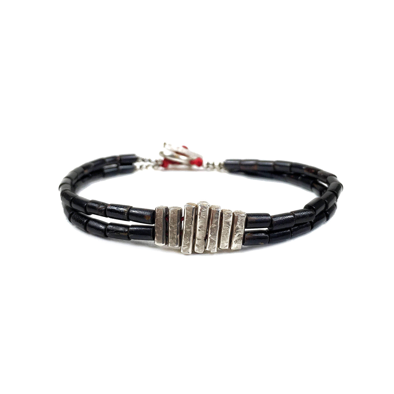 bracelet de corail noir oxyd bracelet en argent sterling. Black Bedroom Furniture Sets. Home Design Ideas