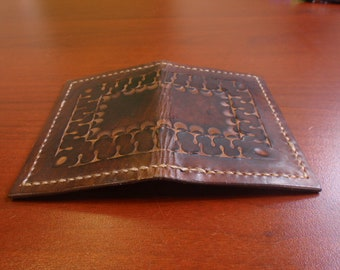Leather Card Holder Wallet - Chocolate Brown, Horsehide Leather exterior and calf leather interior