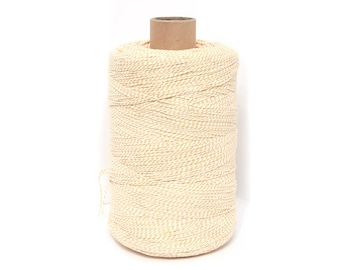 Bakers Twine , Cotton Bakers Twine, White YellowTwine, Bakers Twine, Gift Packing Twine Crafting, roll candy stripe, Natural twine by EcoGG