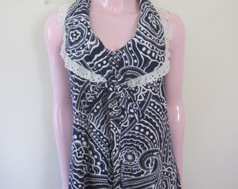 1960s Navy Blue and White Abstract Print Maxi Dress, Size S