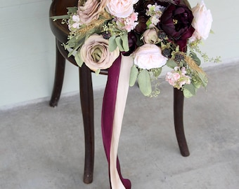 Marsala Wine Silk Flower Wedding Bouquet | Beige and Light Peach | Preserved Eucalyptus Bridal Bouquet | SG-1062