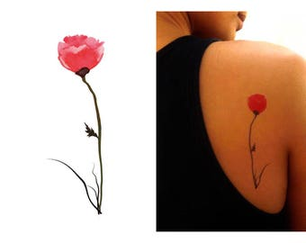 Temporary Tattoo Watercolor Poppy - Gift Ideas For Her -PFPP WC02