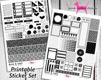Planner Stickers Printable /  Erin Condren Life Planner / Black & White Sticker-Set
