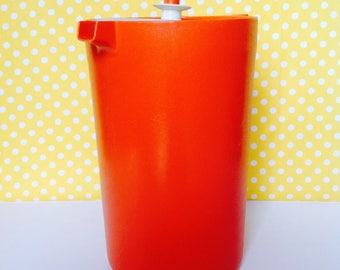 Tupperware Pitcher, One gallon pitcher, orange pitcher,  plastic pitcher, orange gallon pitcher, retro pitcher, large pitcher