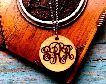 Round Wooden  Monogrammed Necklace