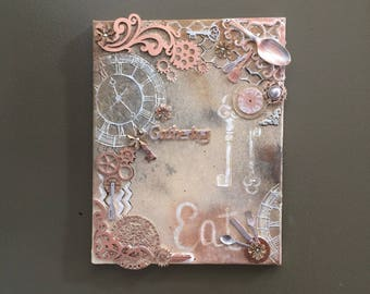 Steampunk Mixed Media Canvas Painting