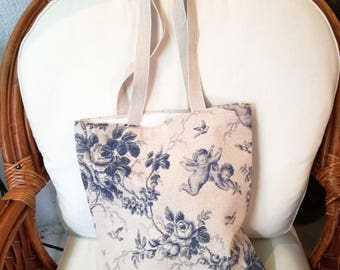 Fabric bag, floral picture & Angels