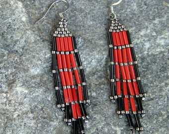 Beaded Red Earrings, Brick Stitched earrings, Bead Work, Native American Earrings, Hypoallergenic Earrings, Indian Bead Work, Pow Wow Style