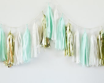 MINT & GOLD tissue tassel garland party decoration