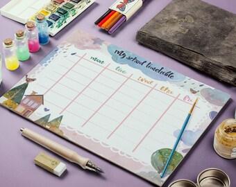 Children Planner, Kids Timetable, Back To School, Daily School Planner, My School Timetable, Weekly Planner, Daily Schedule, Student Planner