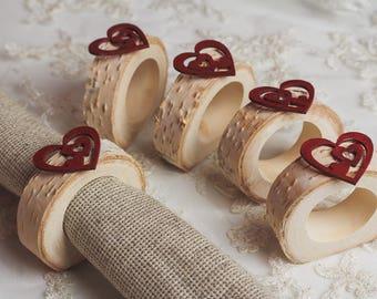 10 set Wood Rustic Napkin Rings Valentine table decor Easter Wedding Table Decor Rustic bridal shower Heart napkin rings Wood Napkin Rings