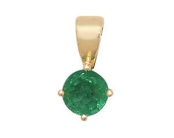 Emerald CLAW SET Pendant May Birthstone