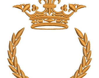 beautiful crown and laurel wreath - Machine embroidery design