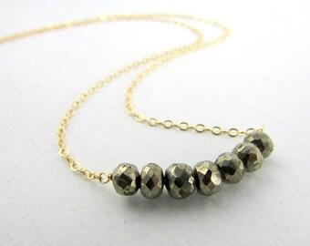 Gemstone Bar Necklace, Bead Bar Necklace, Pyrite Bar Necklace, Pyrite Gold Necklace, Pyrite Semi-Precious Stone Jewelry, Pyrite Jewelry