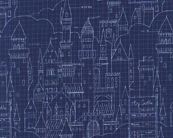 Magic by Sarah Jane for Michael Miller - Castle Plans - Navy - DC 7196 - 1/2 Yard Cotton Quilt Fabric 716