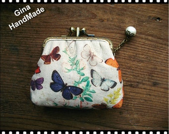 Vintage Butterfly two compartment / Coin purse / Wallet / Pouch / wedding clutch / kiss lock frame purse bag-GinaHandmade