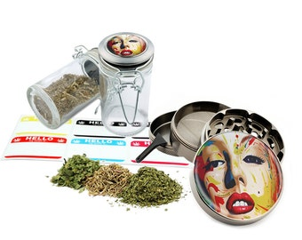 "Marilyn Monroe - 2.5"" Zinc Alloy Grinder & 75ml Locking Top Glass Jar Combo Gift Set Item # 50G012516-20"