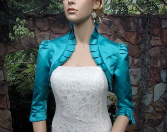 Teal 3/4 sleeve satin bolero wedding bolero jacket shrug