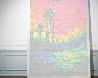 H.G. Wells' War of the Worlds. Colourised Typographic One Sheet Print.