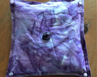 """Dream Pillow - Light Purple Tyed Dyed 9"""" x 9"""" Dream Pillow with Organic Herbs, Essential Oils and Crystals"""