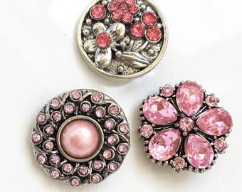 new stock diy snap jewelry silver tone metal and pink rhinestone 18mm interchangeable snap