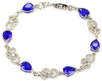 Sterling Silver Deep Blue Sapphire & AAA White Cz Accents Bracelet
