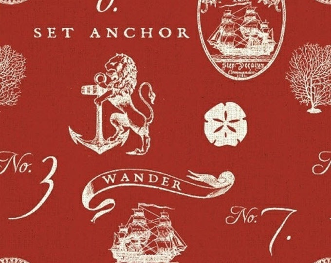 Half Yard Hidden Cove - Sea Emblems in Red - Sea Animals Cotton Quilt Fabric - by Sue Schlabach for Windham Fabrics - 40430-1 (W3024)
