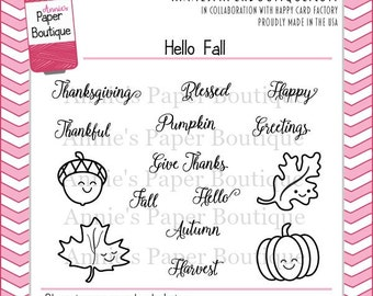 Planner Stamps by Annie's Paper Boutique - Hello Fall - Filofax, Inkwell, Erin Condren, Project Life - Clear Stamps - Autumn Thanksgiving