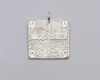 Fingerprint Jewelry, Custom Silver Square Fingerprint Pendant with 4 Fingerprints, Personalized Charm, Men's Fingerprint Jewelry, Men's Gift