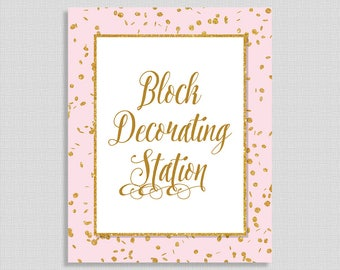 Block Decorating Station Baby Shower Sign, Pink & Gold Glitter Shower Sign, Baby Girl, INSTANT PRINTABLE