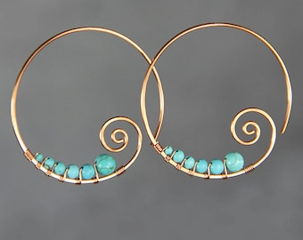 Turquoise earrings, copper earrings, wiring earrings, spiral earrings, hoop earrings, handmade earrings, gift for her, free US shipping