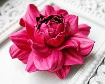 Hot Pink Leather Rose Flower Brooch Hairclip