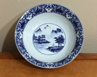 Vintage Serving Bowl from Canton Blue - Blue and White Chinese Motif Design