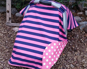 Girls Car Seat Cover - Car Seat Canopy - Nautical Car Seat Canopy - Pink Navy Car Seat Cover - Girls Car Seat Cover - Baby Shower Gift