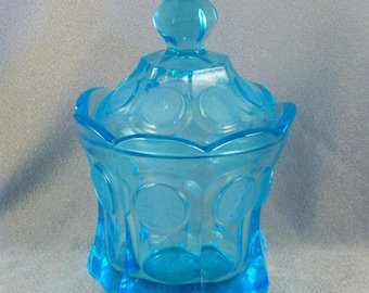 Vintage Fostoria Candy Jar // Covered // Light Blue // Frosted Coin Design // 1950s - 1970s