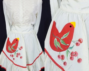 Apron Vintage Cherry and Red Bird 50s Party Hand Painted Taffeta