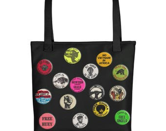 Black Panther Tote bag // BPP // Huey Newton // Angela Davis // Buttons // Pins // African American // Black History // Black Pride // Power