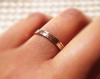 Gold Stacking Rings, 5 Micro Skinny Stackable Rings, Dainty Hammered Gold Filled Rings, Minimalist Jewelry, Etsy Gifts Ideas, Boho Rings